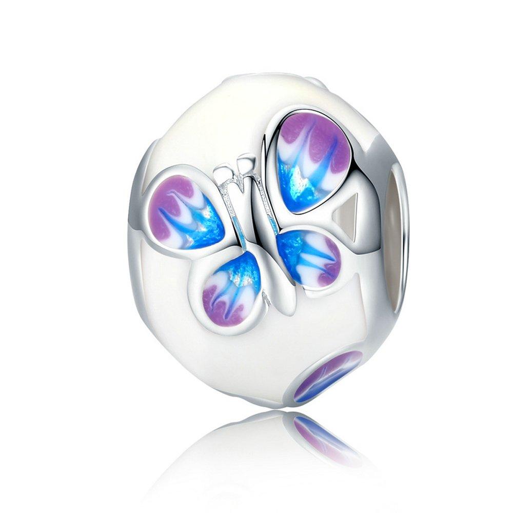 The Kiss Butterfly Flower Love Heart 925 Sterling Silver Bead Fits European Charm Bracelet White Enamel