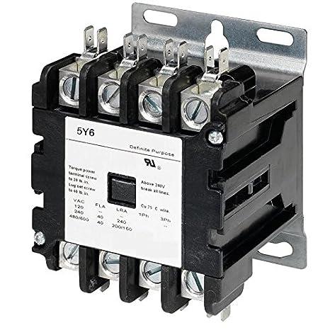 5y6 40 AMP DEFINITE PURPOSE CONTACTOR 4 Pole 120V Lighting Heating  Pole Lighting Contactor Wiring Diagram on