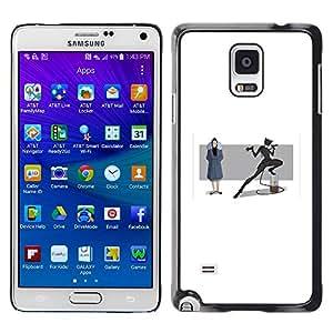 GOODTHINGS Funda Imagen Diseño Carcasa Tapa Trasera Negro Cover Skin Case para Samsung Galaxy Note 4 SM-N910F SM-N910K SM-N910C SM-N910W8 SM-N910U SM-N910 - Mujer máscara heroína carácter murciélago cola de dibujos animados