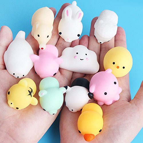 Easter Mochi Squishy 15 Pc Mini Mochi Animal Toys Soft Squeeze Toys Stress Reliever Anxiety Toys Cat Panda Bunny Kitty Bear Seal Party Favors Easter Basket, Easter Egg, Easter Stuffer, Easter Toys