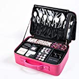 ROWNYEON Makeup Case Travel Makeup Bag Makeup Organizers Bag Makeup Train Case Professional Portable Cosmetic Bag for Women Waterproof PU Leather EVA Adjustable Dividers Gift for Girls Medium pink