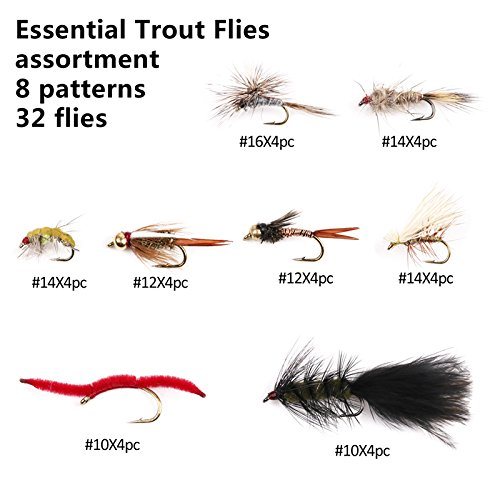 river peak Essential Traout Fly assortment selection 8 pattern 32 flies (Cdc Parachute)