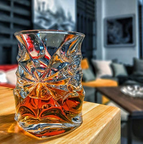 Elegant Ergonomic Old Fashioned Nosing Tumblers Exclusive HEAVIEST Scotch Tasting Glass on The Market Patent Pending Design High Quality Whisky Glassware Set of 4 Vortex Whiskey Glasses
