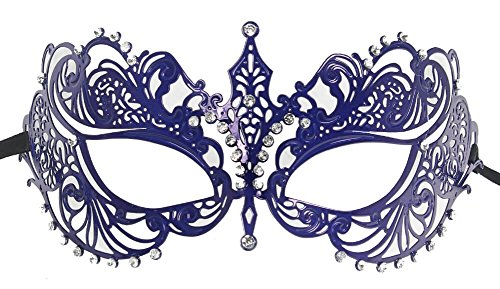 RedSkyTrader Womens Metal Laser Cut Venetian Mask One Size Fits Most -