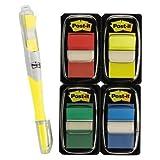 Post-it 680RYBGVA Flags, 1'', Bonus Pack Pen, Highlighter, 250/PK, Assorted