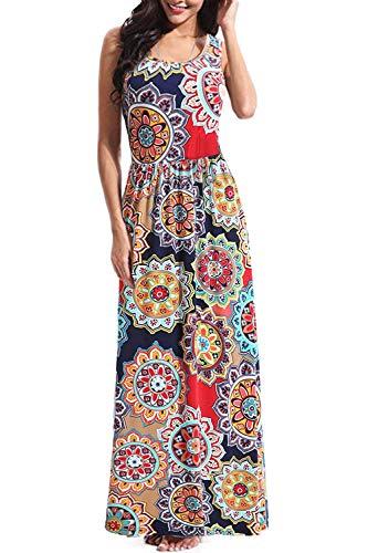 BBX Lephsnt Boho Womens Dresses Retro Floral Print Sleeveless Party Cocktail Dress Summer Maxi ()