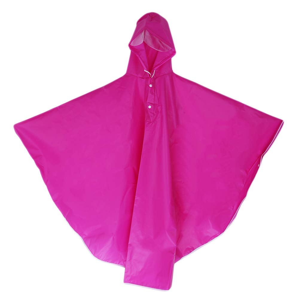 LALANG EVA Raincoat Women Waterproof Rain Ponchos Long Rainwear Lightweight Hooded Raincoat Travel Fishing Hiking Daily Use (rose red)