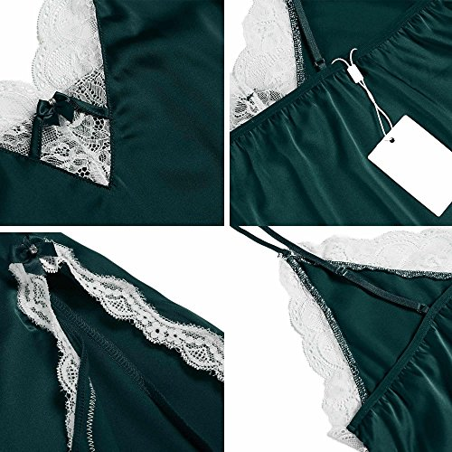 Biancheria E Notte Bordo Chemise Sexy In Da Pizzo Ekouaer Scivoloso Donna Verde Raso wgznCpx41q