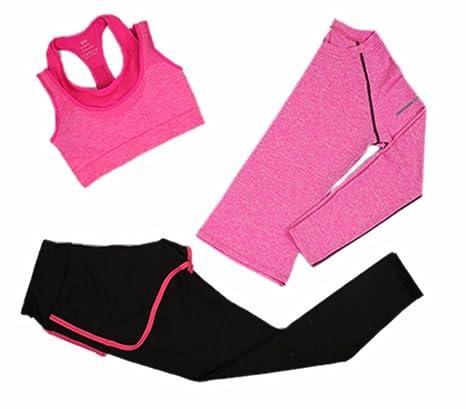 Traje de yoga para mujer, 3 piezas Running Jogging Chándal Gym ...
