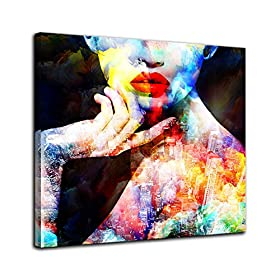 AMEMNY African American Wall Art Painting Canvas Abstract Graffiti Style Picture Wall Decor for Living Room Bedroom Bathroom Stretched and Framed Ready to Hang