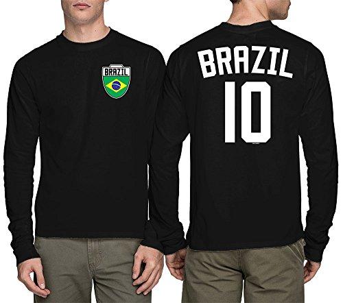 Long Sleeve Mens Brasil Brazil Brazillian - Soccer, Football T-shirt (XL, - Brazil Shirts Football