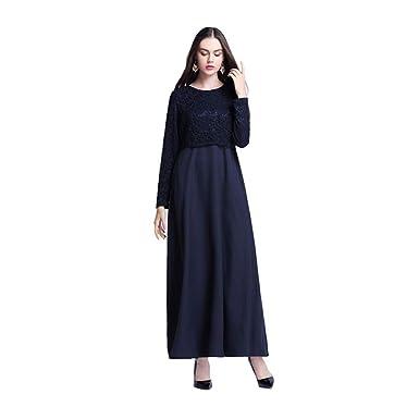 df045811ec Amazon.com  Womens Muslim Kaftan Abaya Maxi Dress Elegant Lace Cocktail  Party Evening Gown Long Sleeve Solid Ethnic Islamic Dresses  Clothing
