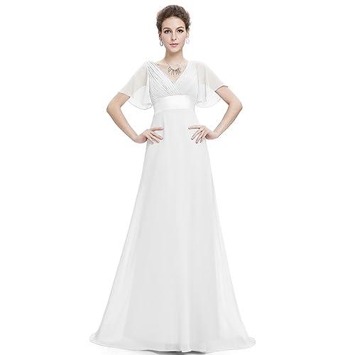 Ever Pretty Womens Double V-Neck Short Flutter Sleeves Empire Waist Long Evening Dresses 09890