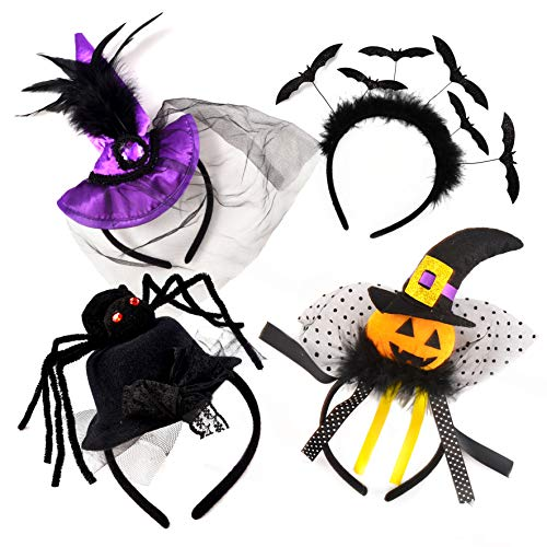 Set of 4 Halloween Pumpkin Witch Spider Headbands by Spooktacular Creations for Halloween Party Supplies, Cosplay, Photo Booth (One Size Fit All)