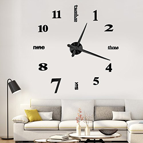 Yesurprise 3D Frameless Large Wall Clock Modern Mute Mirror Surface DIY Room Home Decorations Black