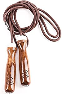 Jump Rope - Premium Jump Rope Golden Stallion for Genuine Jump Rope Workout Experience - Gain More Energy and Get Better Body Shape with Weighted Jump Rope - Wooden Handles - Adjustable Leather Jump Rope Ball Bearings - Ideal As a Crossfit Jump Rope - Max
