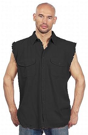 ecda2ed0f06 Image Unavailable. Image not available for. Color  Mens Sleeveless Denim  Cotton Twill Biker Shirt ...