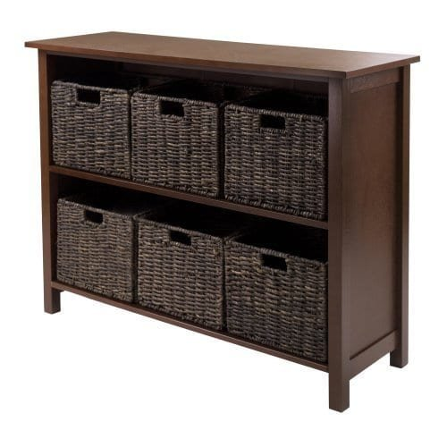 Luxury Home Granville 94391-WW Wood Storage Shelf with 6 Foldable Baskets by Luxury Home (Image #1)