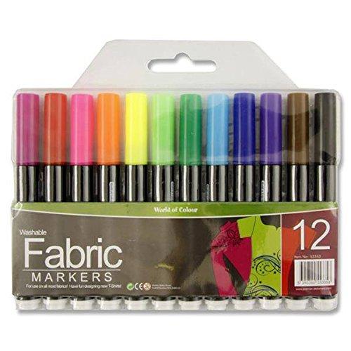 Fabric Textile Permanent Washable T-Shirt Design Colour Marker Pens - 12 x 12pk by World of Colour