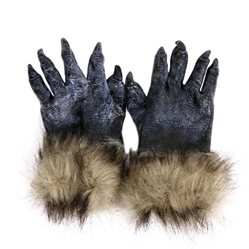 Cicitop Halloween Werewolf Gloves Natural Latex Hands Masquerade Party Costume Scary Toy Cosplay -