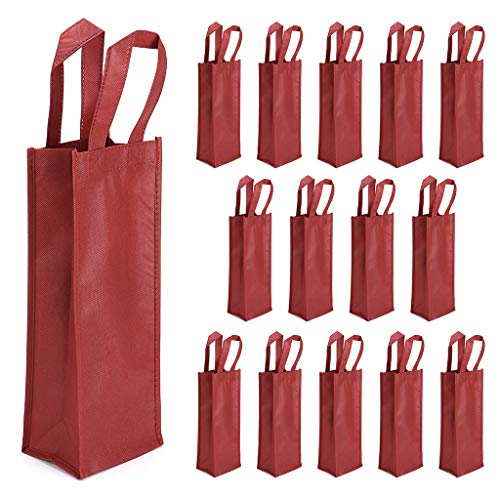 Hipiwe 15 Packs Wine Tote Bag - Non-Woven Single Wine/Champagne Bottle Bag Holder with Handle, Reusable Wine Gift Bags for Party, Wedding, Birthday, Wine Tasting Party Supplies (Red) (The Best Tasting Red Wine)
