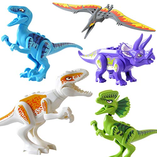 Gbell Dinosaur Action Figures DIY Model Toys - Scientific T-Rex Dino Building Blocks Playset Educational Dinosaur Toys Gifts Party Favors for Boys Girls Kids 3-12 Years Old,1 Pcs/5 Pcs (5Pcs)
