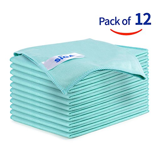 "MR. SIGA Ultra Fine Microfiber Cloths for Glass, Pack of 12, 35 x 40cm 13.7"" x 15.7"""