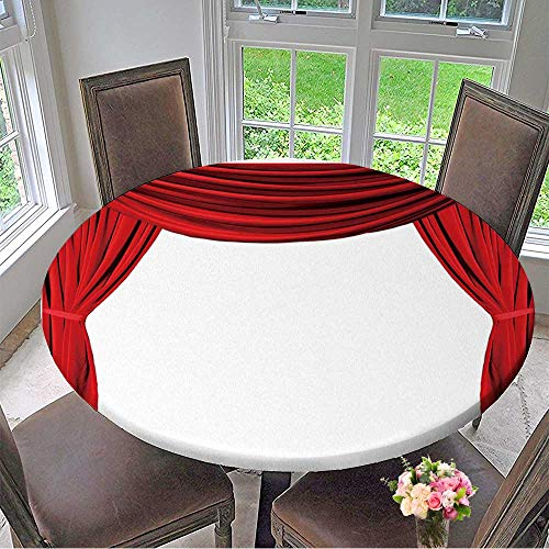 Mikihome Round Fitted Tablecloth Isolated Red Draped Theater Curtains Series for All Occasions 43.5