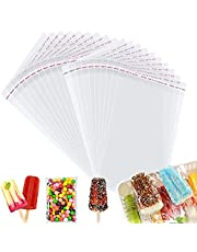 100PCS Popsicle Bags Ice Cream Bags Clear Popsicle Ice Pop Plastic Bags Self-Adhesive Popsicle Plastic Bags,7 x 3 Inch