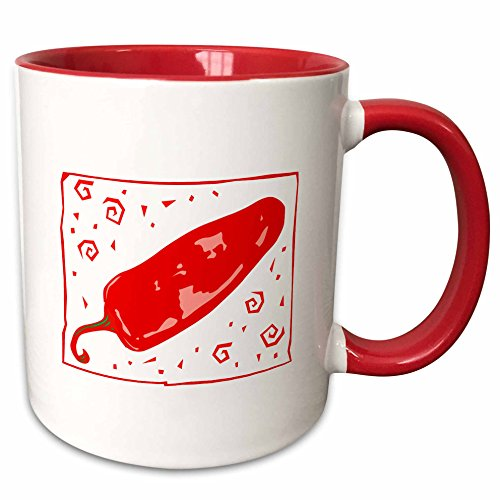 (3dRose Susans Zoo Crew Food Vegetable Hot Pepper - Red chili rounded pepper swirls - 15oz Two-Tone Red Mug (mug_175661_10))