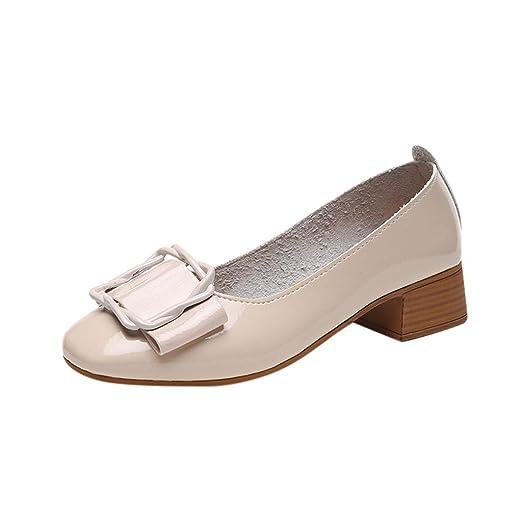 32a33597a56e7 Amazon.com: ℱLOVESOOℱ Woman's Low Heel Pump Shoes Confortable Round ...