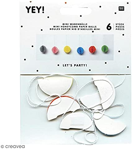 Mini boule en papier 6 pcs Multicolore Suspensions nid dabeille
