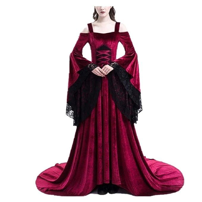 Yqdayshow Vestido de Encaje Medieval y Fuera del Hombro Vestido de Playa sin Mangas de Las