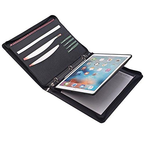 Zipper Binder Portfolio with iPad Holder Notepad Holder - Organizer iPad Padfolio with 3-Ring Binder for iPad Pro 12.9