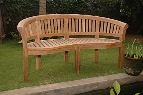 (Anderson Teak BH-005CT - No Cushion Curve 3 Seater Extra Thick Wood Bench)