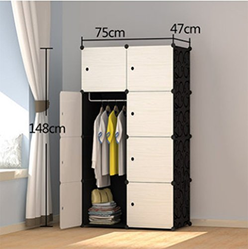 Yigui Portable Clothes Closet Wardrobe Bedroom Armoire Dresser Cube Storage Organizer,Space Saving,Ideal Storage Organizer Cube For Books, Toys, Towels,8 Cubes& 1 Hanging Sections by Yigui