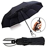 Travel Umbrellas for Men and Women,Floding Strong Compact Umbrellas for Rain and Sun with 210T 10 Ribs Light Weight Windproof Waterproof Umbrellas Automatic Open Close (Black)