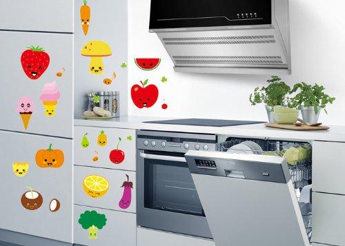 Createforlife Home Decoration Vinyl Wall Sticker Decals Mural Art Ice Cream Strawberry Orange