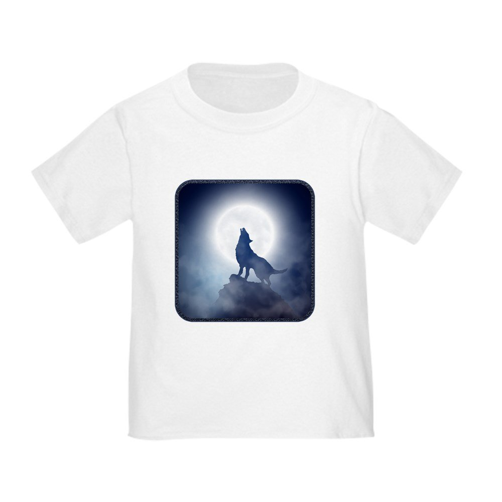 Truly Teague Toddler T-Shirt Howling Wolf in Misty Moonlight