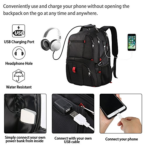 Extra Large Backpack,TSA Friendly Durable Travel Computer Backpack with USB Charging Port/Headphones Hole for Men&Women,Water-Resistant Big Business College School Bookbag Fits 17 Inch Laptop&Notebook by YOREPEK (Image #3)