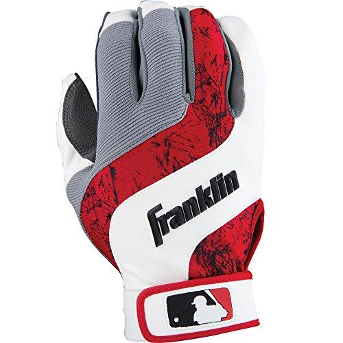 Franklin Sports MLB Adult Shok-Wave Batting Gloves, White/Red/Grey, Small