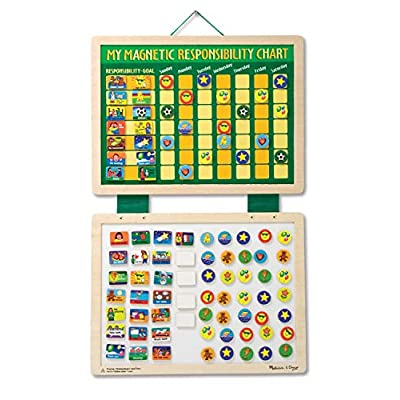 Melissa & Doug Magnetic Responsibility and Chore Chart (Developmental Toys, Encourages Good Behaviour, 90 Pieces, 40.005 cm H x 29.845 cm W x 1.27 cm L): Toys & Games