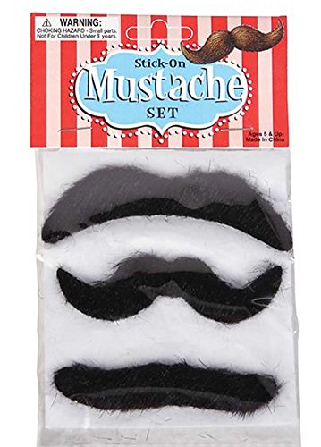 Rhode Island Novelty Mustache, 3 Piece Set, 3.5-Inch