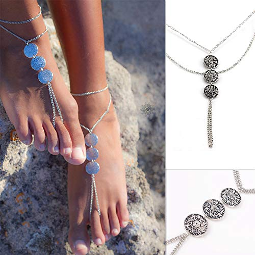 Hooshing Glyph Metal ID Coin Barefoot Sandals Anklets Summer Beach Foot Jewelry 2 Pack ()