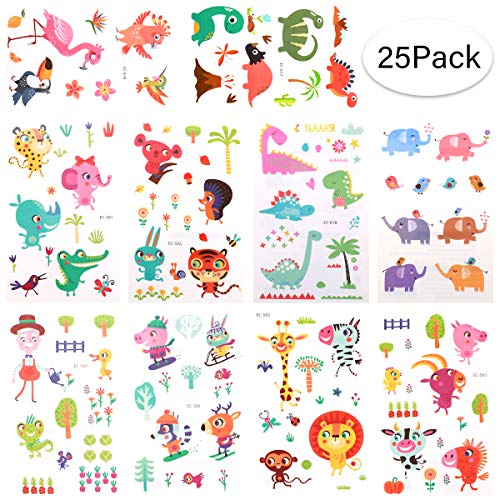 BRT Zoo Animal Temporary Tattoos(25sheets) for Kids Boys Girls Children, Zoo Animal Fake Tattoo Stickers for Kids Birthday Party Supplies Party Favors Party Bags Filler -