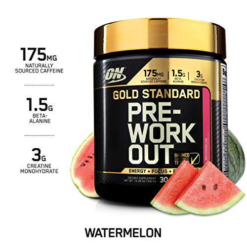 OPTIMUM NUTRITION Gold Standard Pre-Workout with Creatine, Beta-Alanine, and Caffeine for Energy, Keto Friendly, Watermelon, 30 Servings