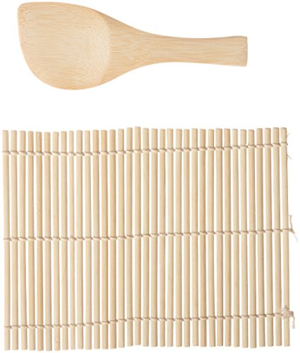Helen's Asian Kitchen 97082 Sushi Hand Roll Mat with Rice Paddle, 7.25-Inches x 5.25-Inches, Natural Bamboo