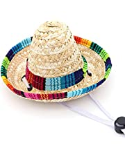 NUOBESTY Hawaiian Dog Hat, 1 Pc Chihuahua Puppy Straw Bonnet Hat, Colorful Ethnic Mini Mexican Hat Headwear Photo Prop for Cat Dog Pet
