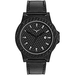 ZINVO One Carbon Men's Luxury Watch with Black Leather Strap, Matte Black Stainless Steel Case, and Carbon Fiber Dial and Bezel
