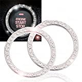 Chrystal Bling Ring Emblem Sticker- Zone Tech Rhinestone Start Engine- Ignition Button Car Key Knob-Interior Bling Push Button Auto- Decorative Decal Unique Silver Sparkly- Vehicle Rings Woman 2 pack
